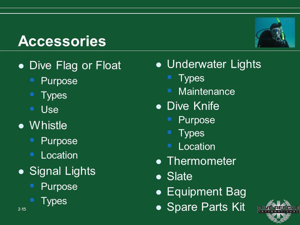 Accessories Dive Flag or Float Whistle Signal Lights Underwater Lights