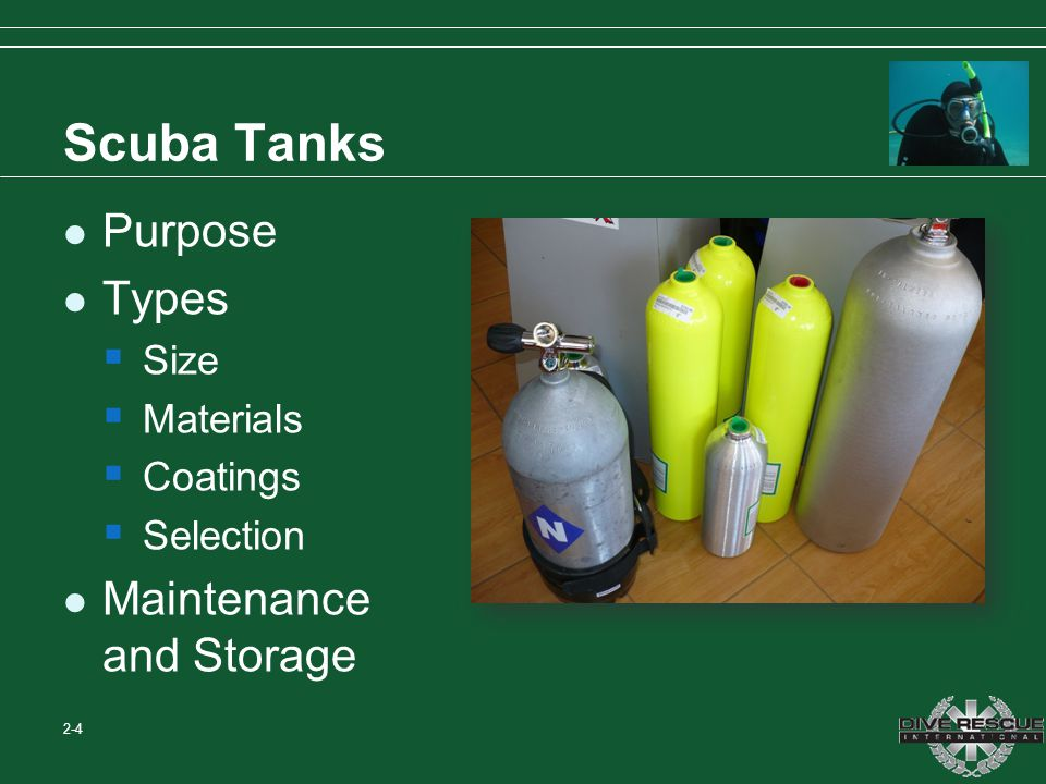 Scuba Tanks Purpose Types Maintenance and Storage Size Materials