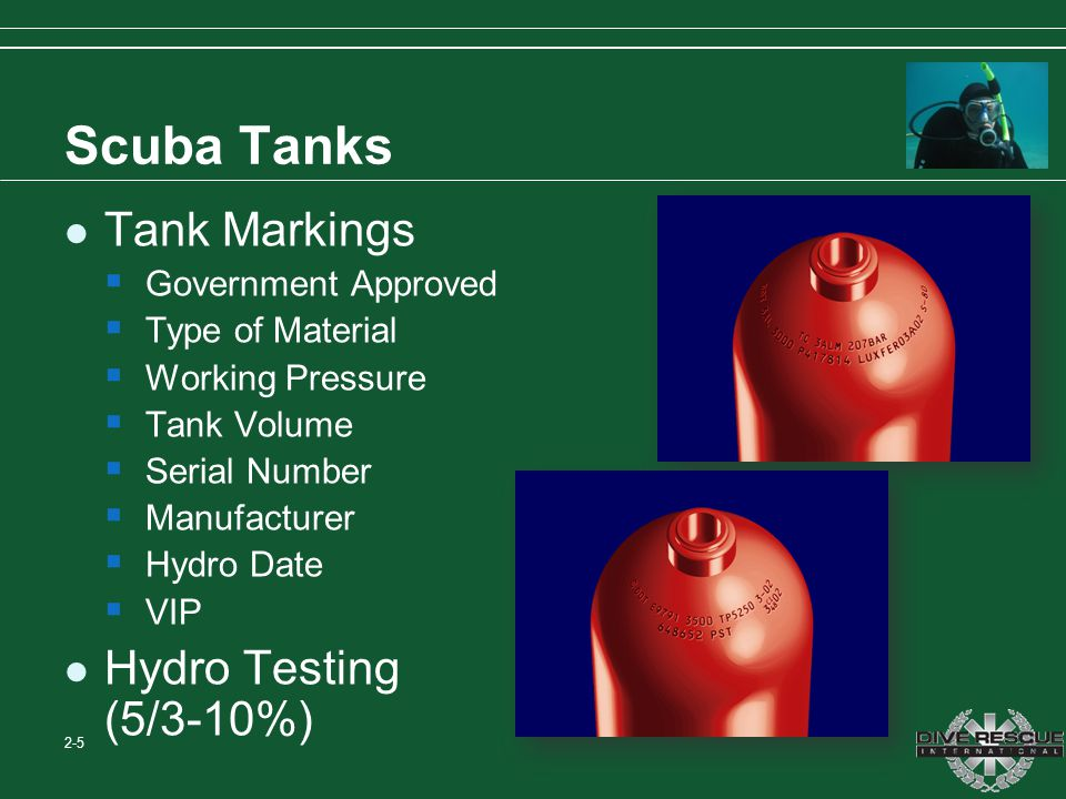 Scuba Tanks Tank Markings Hydro Testing (5/3-10%) Government Approved