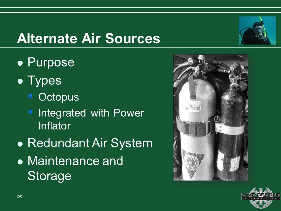Alternate Air Sources Purpose Types Redundant Air System