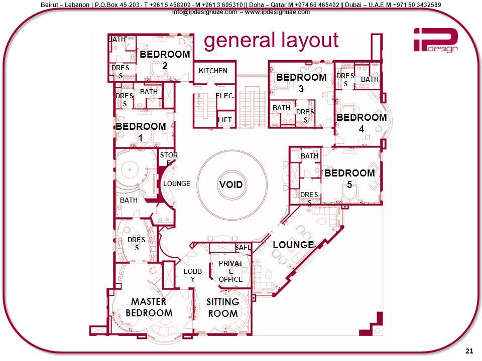 general layout BEDROOM 2 BEDROOM 3 BEDROOM 4 BEDROOM 1 BEDROOM 5 VOID
