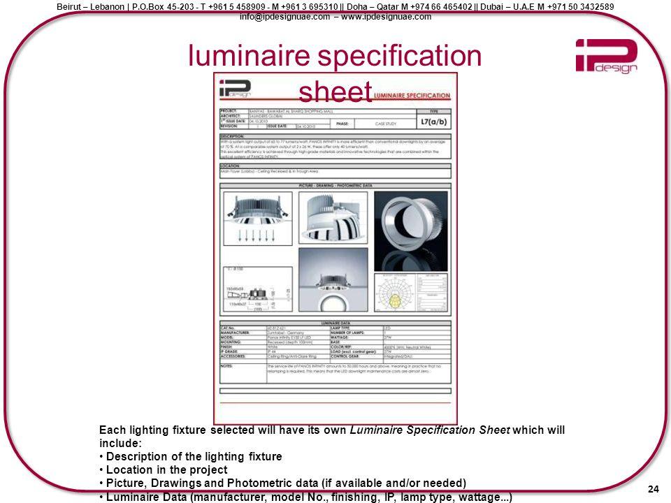 luminaire specification sheet