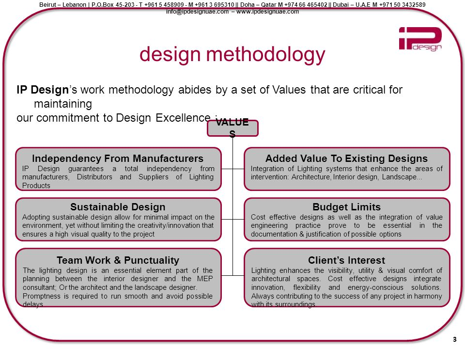design methodology IP Design's work methodology abides by a set of Values that are critical for maintaining.