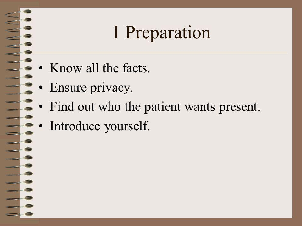 1 Preparation Know all the facts. Ensure privacy.