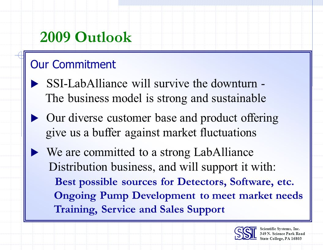 2009 Outlook The business model is strong and sustainable