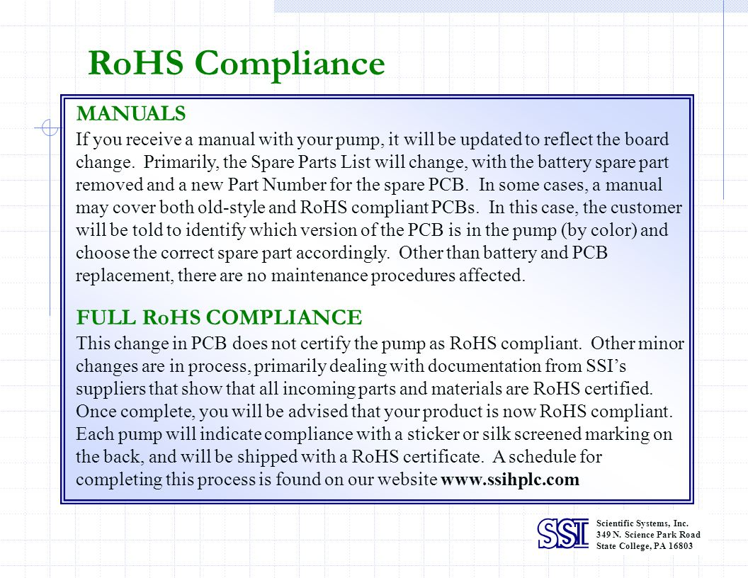 RoHS Compliance MANUALS FULL RoHS COMPLIANCE
