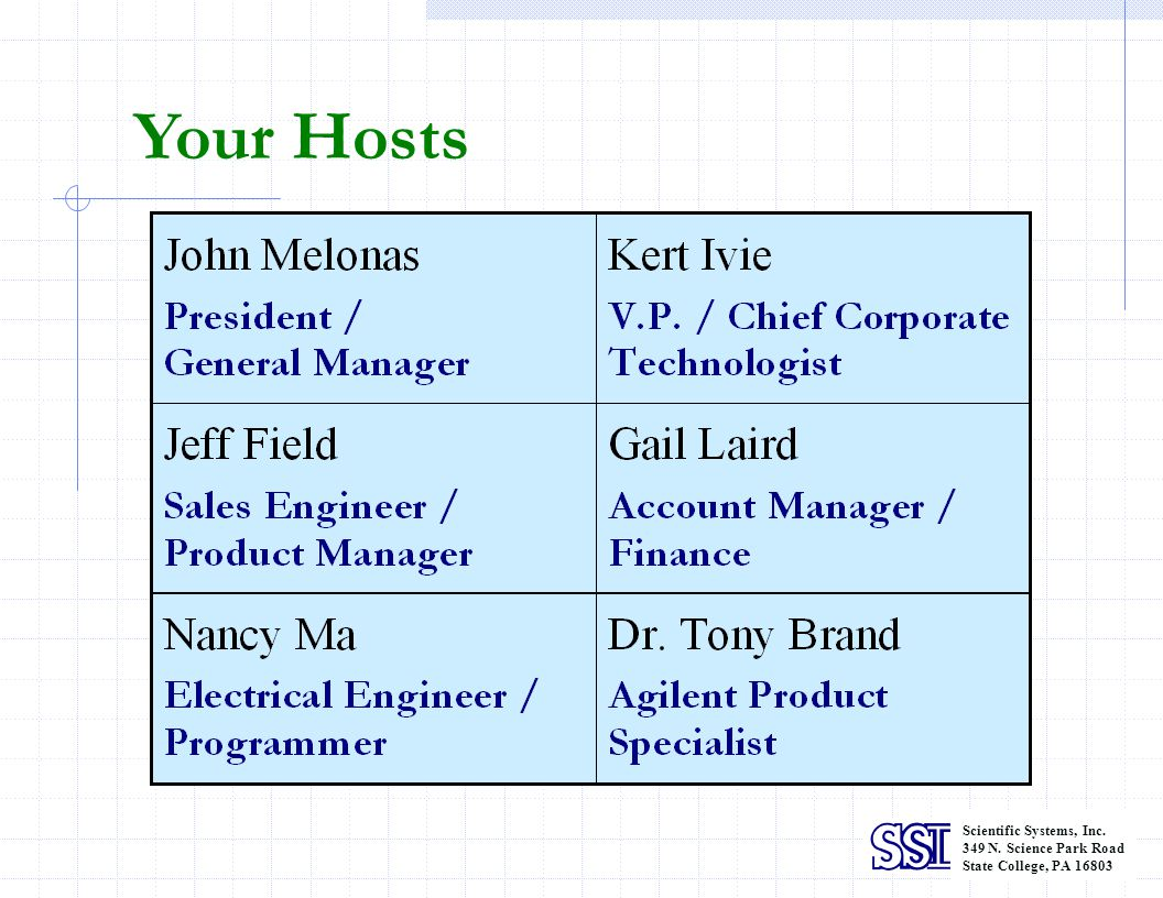 Your Hosts Scientific Systems, Inc. 349 N. Science Park Road