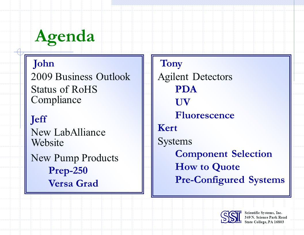 Agenda 2009 Business Outlook Status of RoHS Compliance Jeff