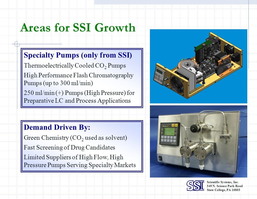 Areas for SSI Growth Specialty Pumps (only from SSI) Demand Driven By: