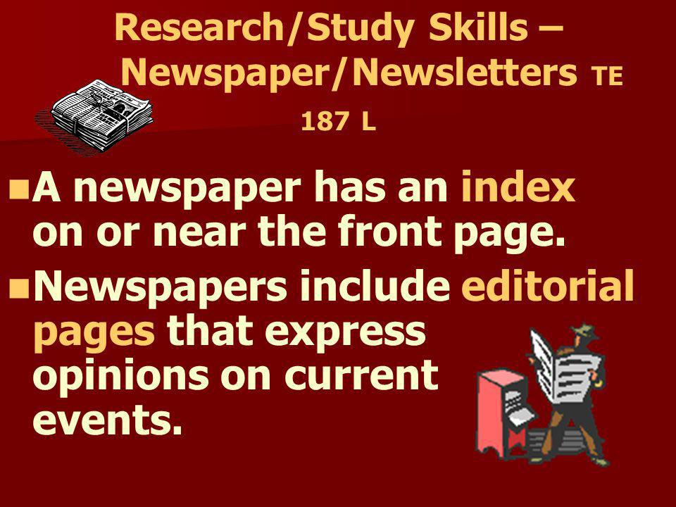 Research/Study Skills – Newspaper/Newsletters TE 187 L