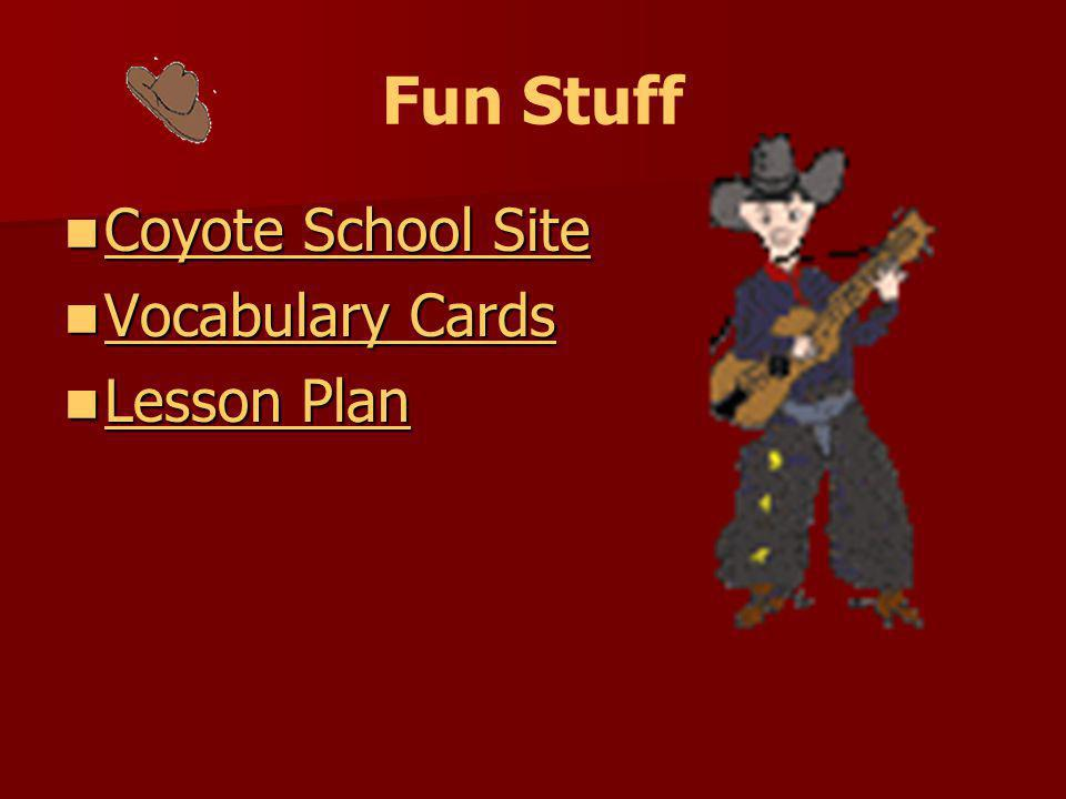 Fun Stuff Coyote School Site Vocabulary Cards Lesson Plan