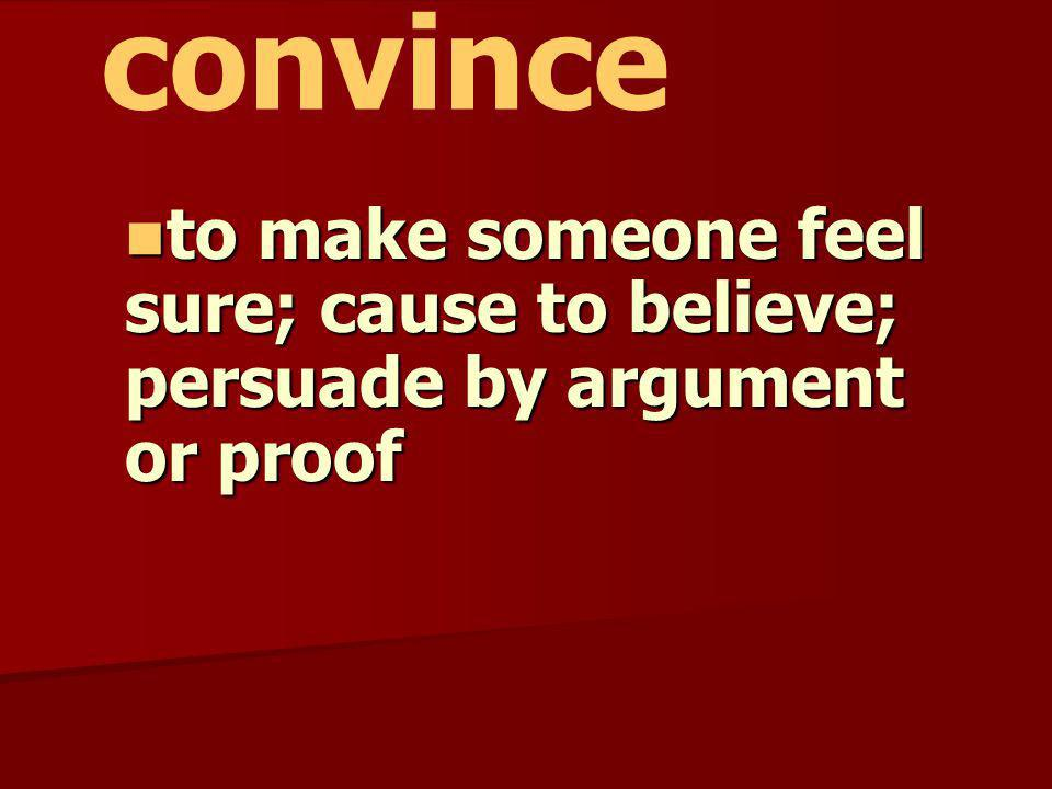 convince to make someone feel sure; cause to believe; persuade by argument or proof