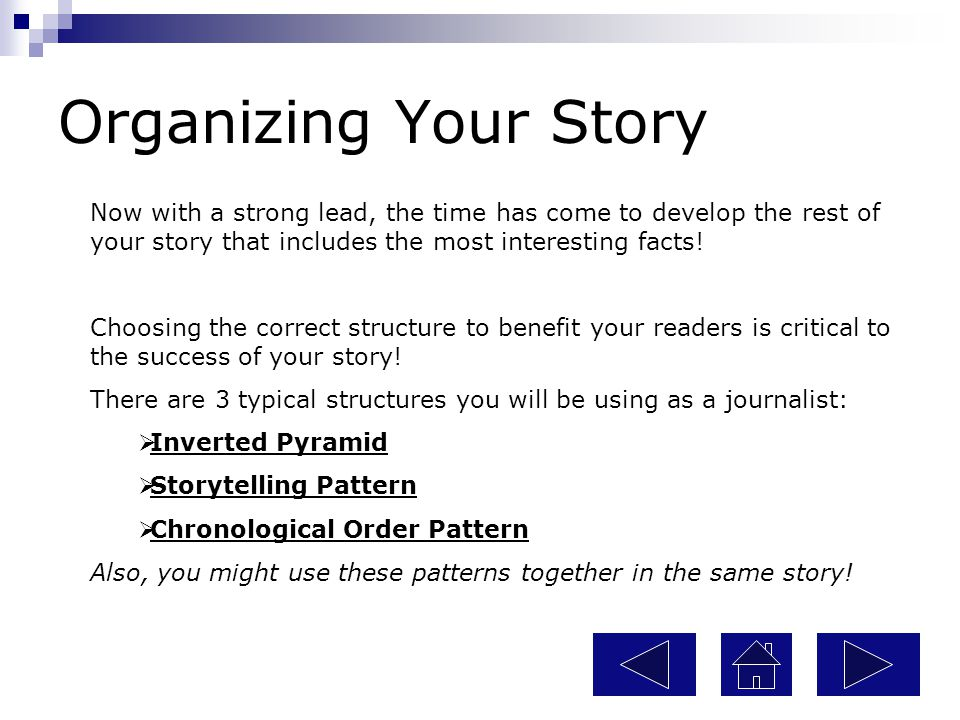 Organizing Your Story Now with a strong lead, the time has come to develop the rest of your story that includes the most interesting facts!