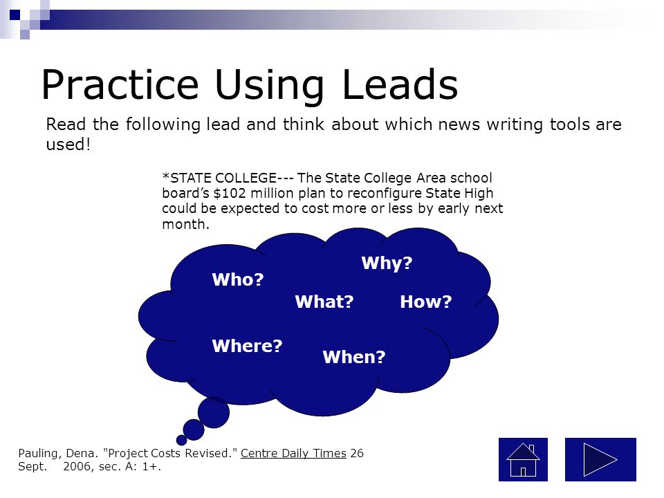 Practice Using Leads Read the following lead and think about which news writing tools are used!