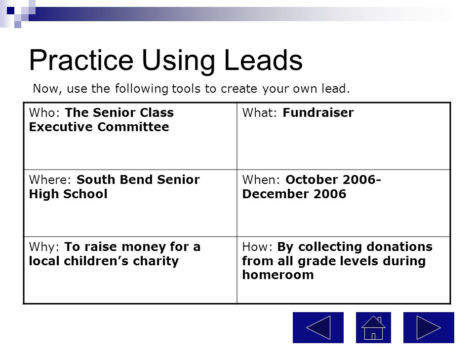 Practice Using Leads Now, use the following tools to create your own lead. Who: The Senior Class Executive Committee.
