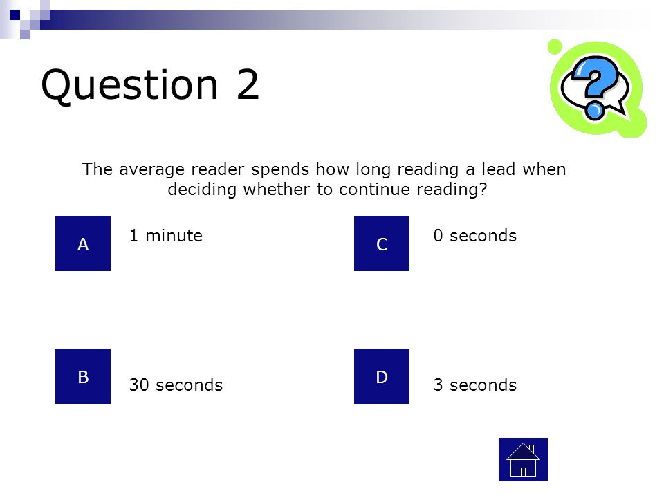 Question 2 The average reader spends how long reading a lead when