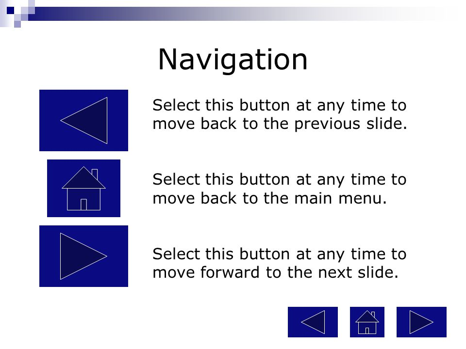 Navigation Select this button at any time to move back to the previous slide. Select this button at any time to move back to the main menu.