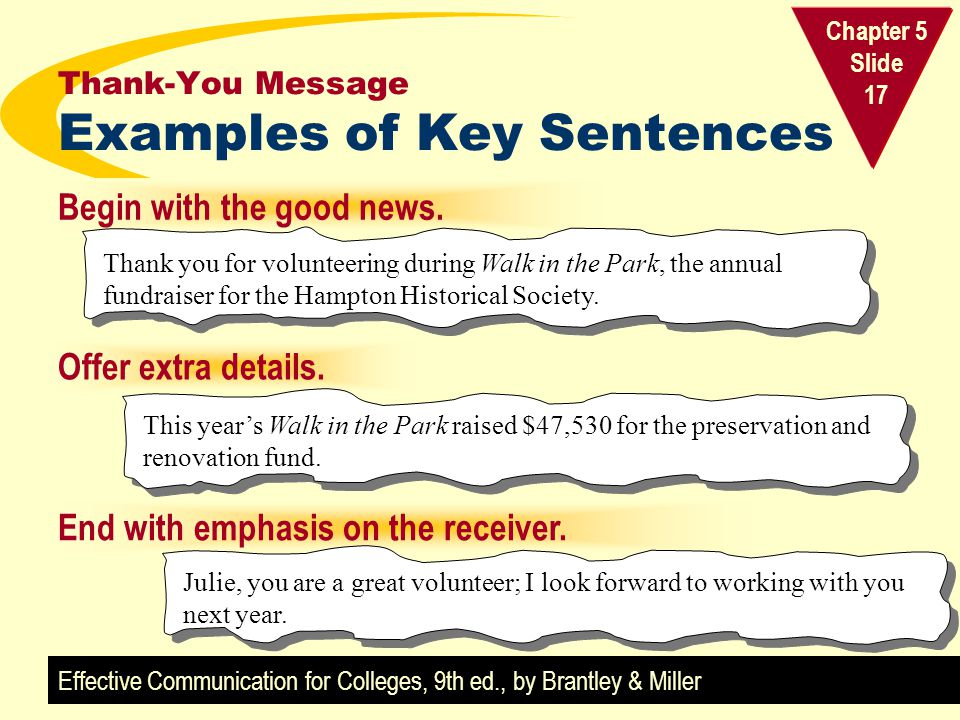 Thank-You Message Examples of Key Sentences