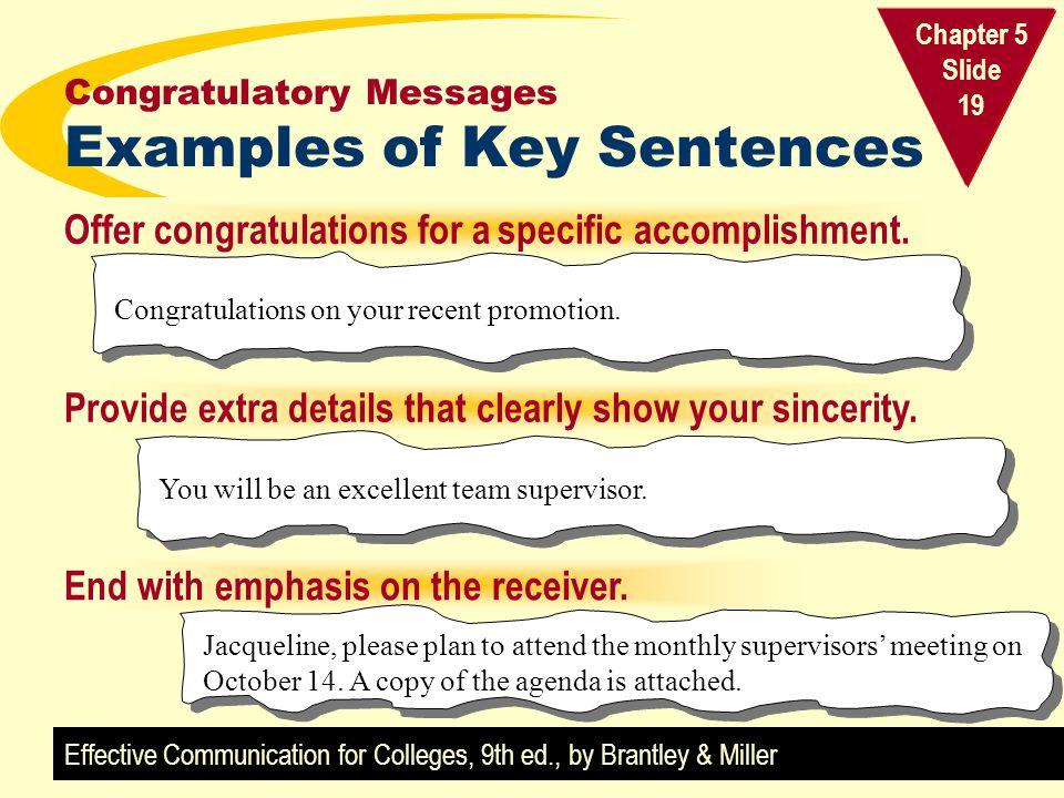 Congratulatory Messages Examples of Key Sentences