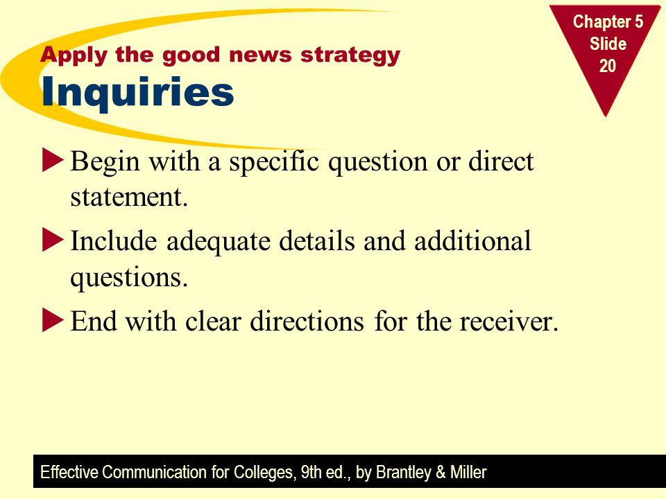 Apply the good news strategy Inquiries