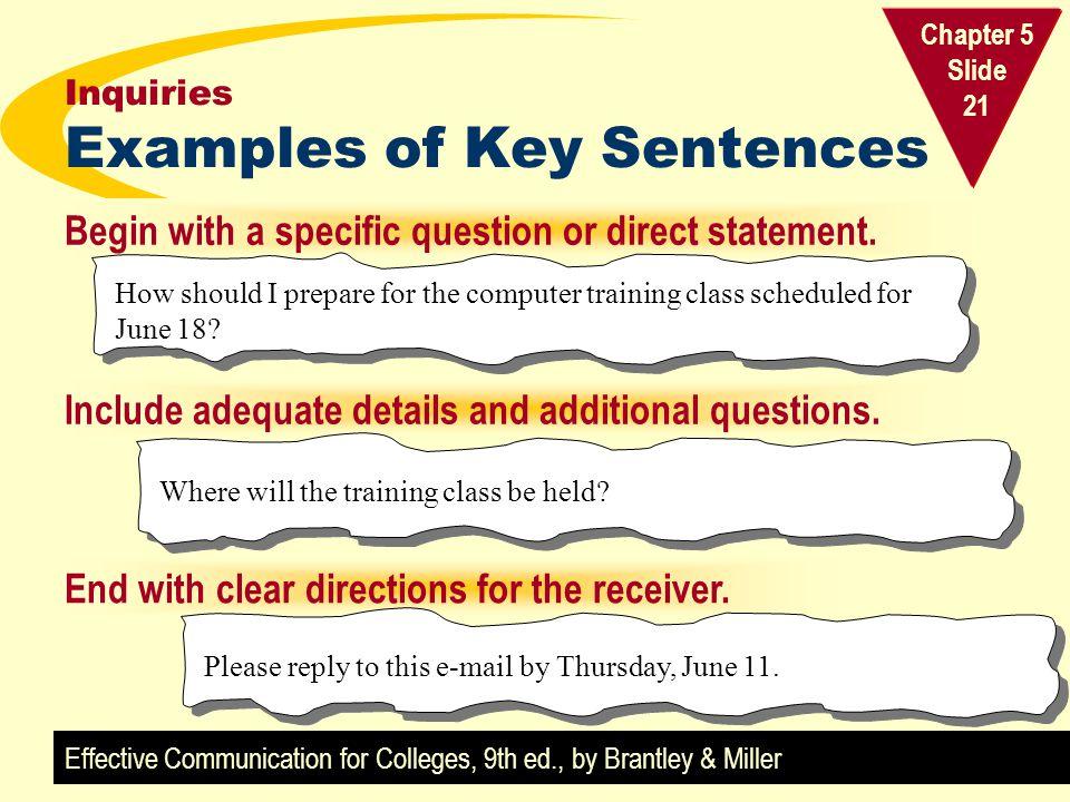 Inquiries Examples of Key Sentences