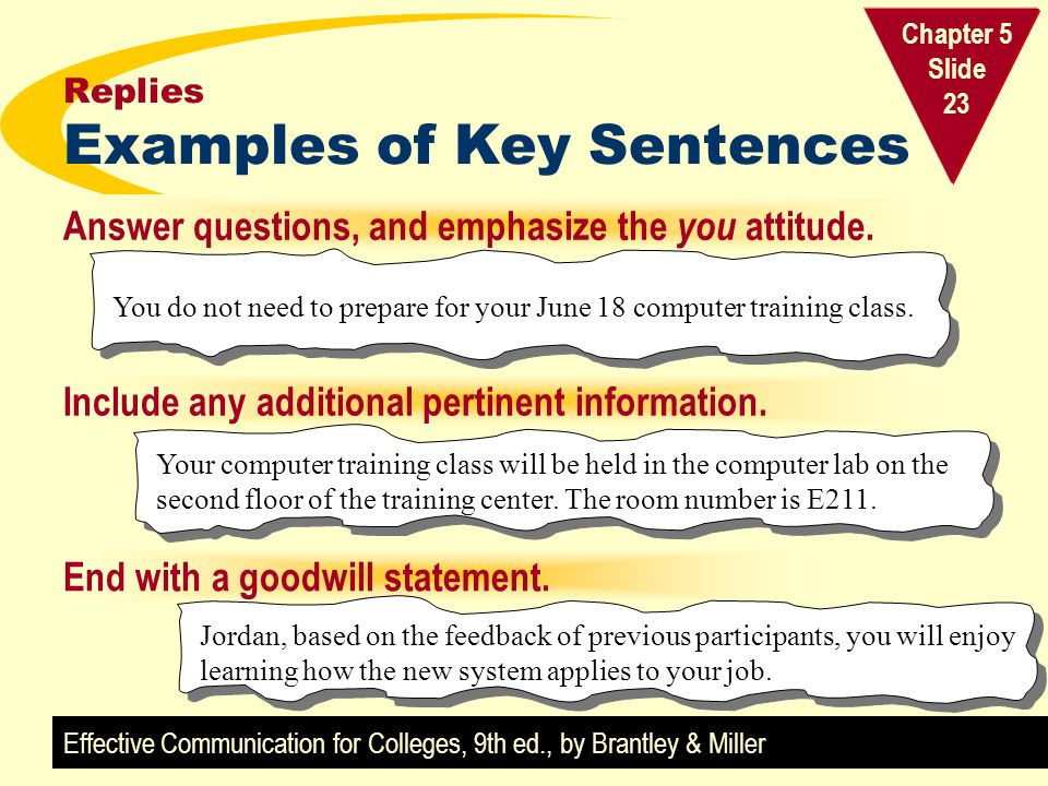 Replies Examples of Key Sentences