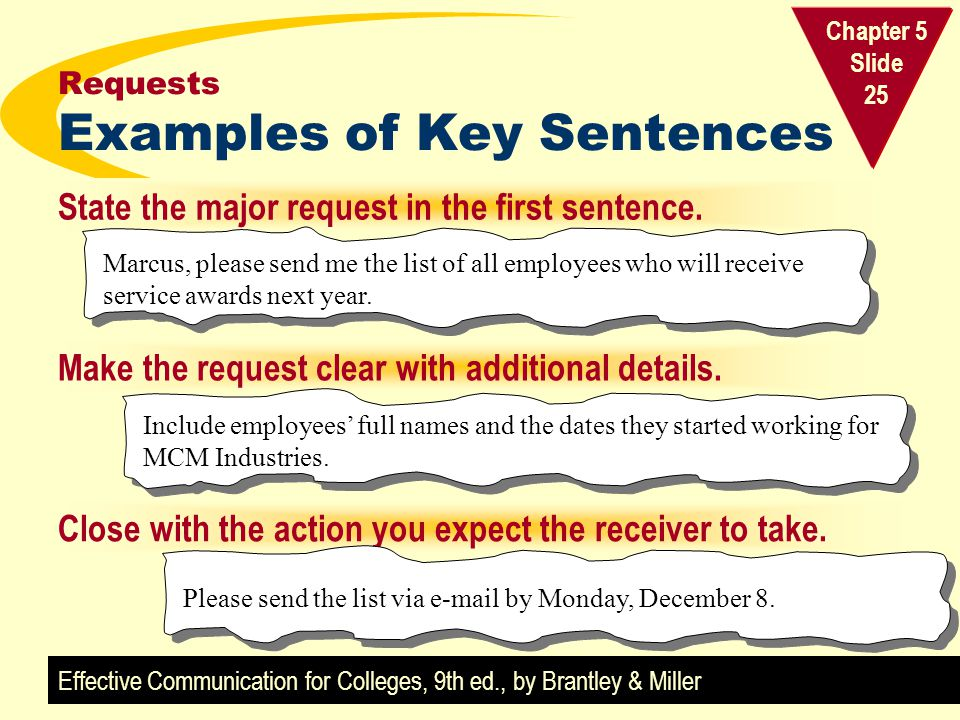 Requests Examples of Key Sentences