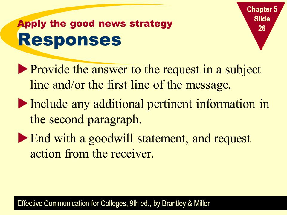Apply the good news strategy Responses