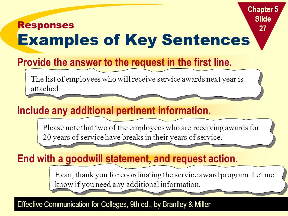 Responses Examples of Key Sentences