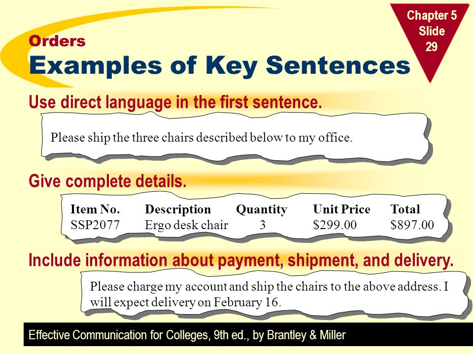 Orders Examples of Key Sentences
