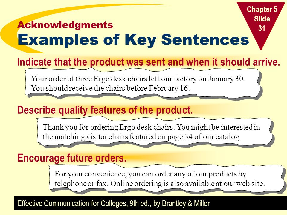 Acknowledgments Examples of Key Sentences