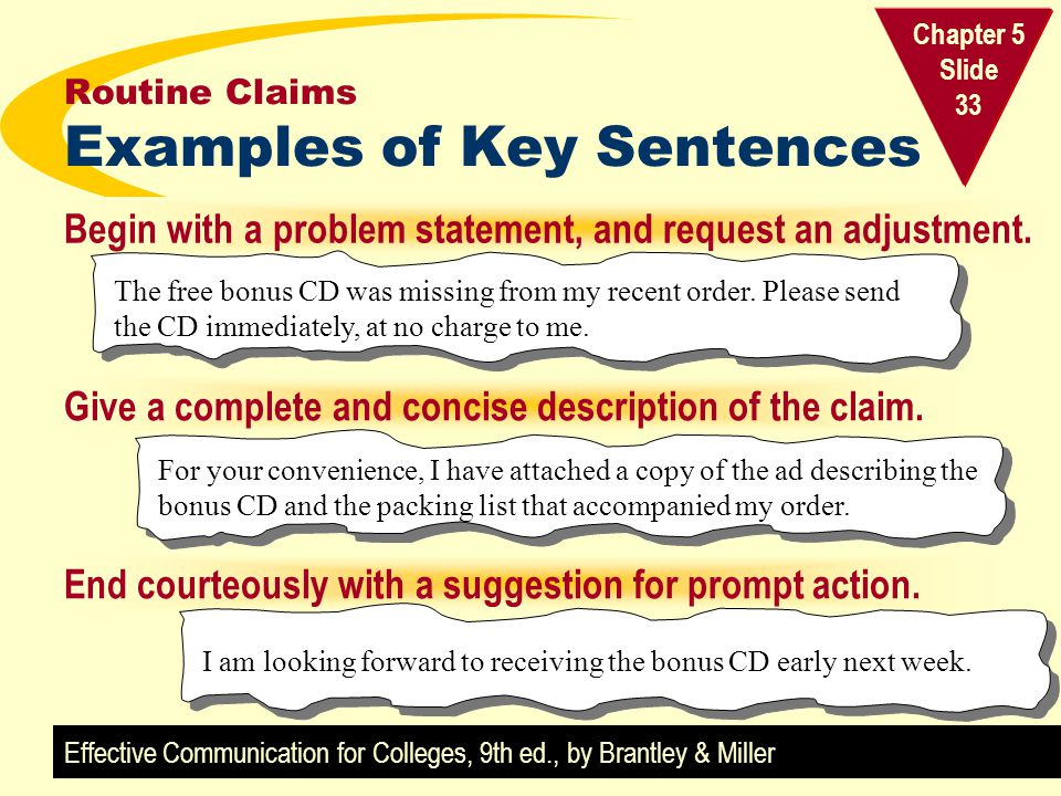 Routine Claims Examples of Key Sentences