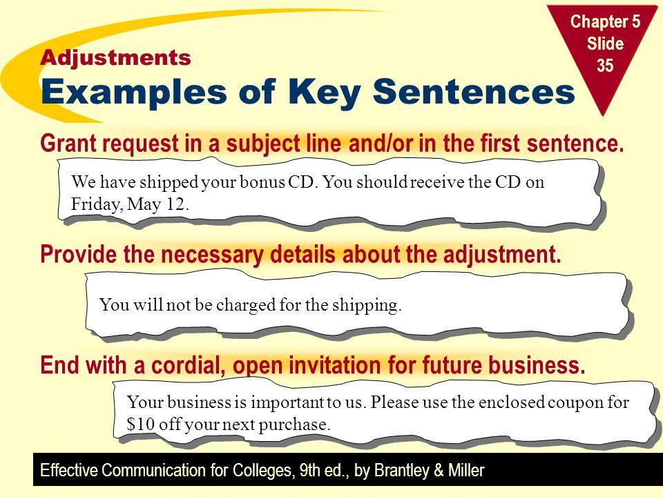 Adjustments Examples of Key Sentences