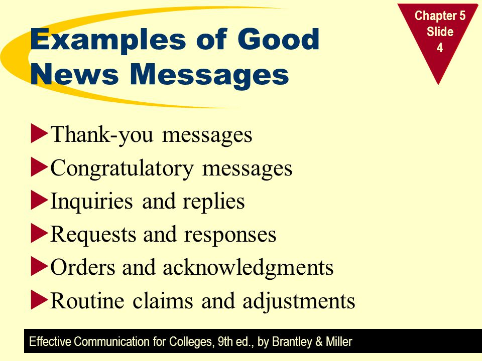 Examples of Good News Messages