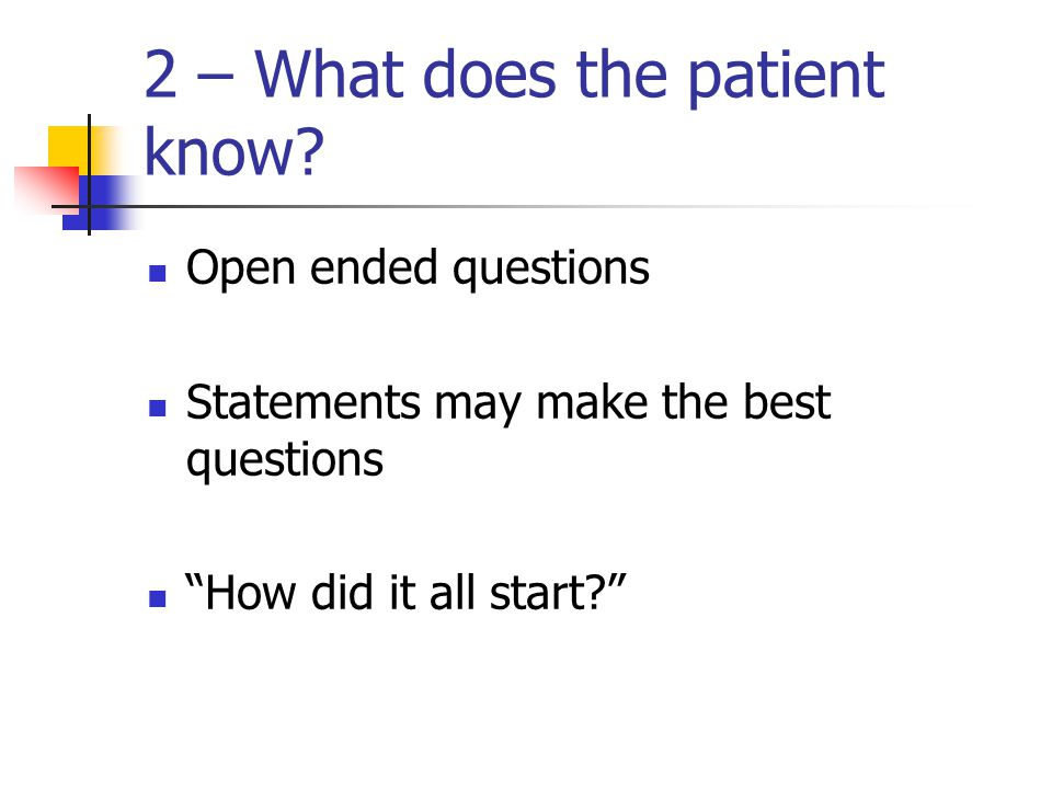 2 – What does the patient know