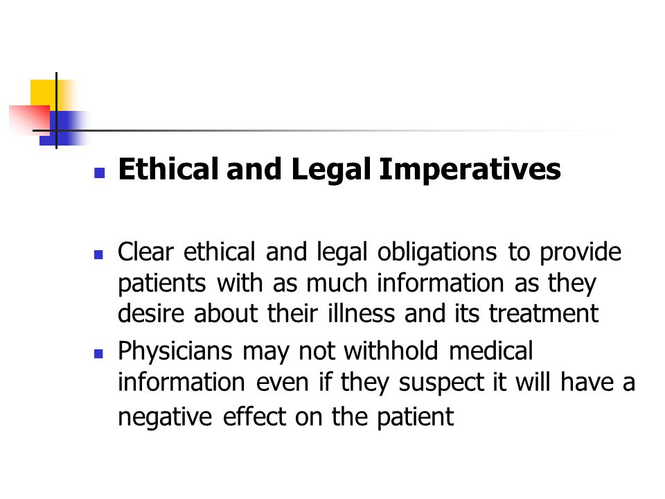 Ethical and Legal Imperatives