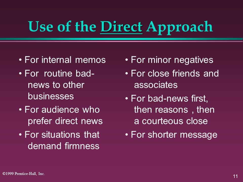 Use of the Direct Approach