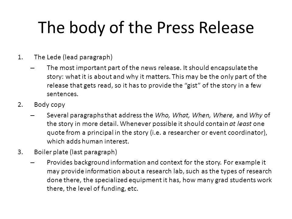 The body of the Press Release