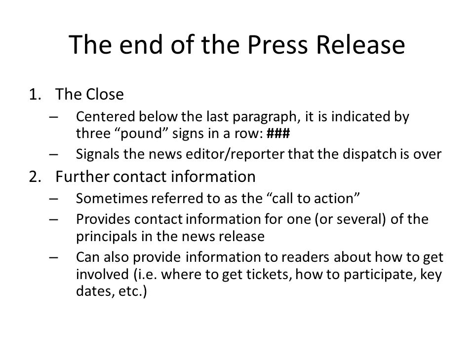 The end of the Press Release