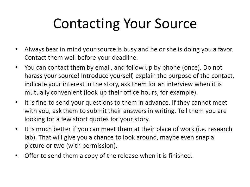 Contacting Your Source