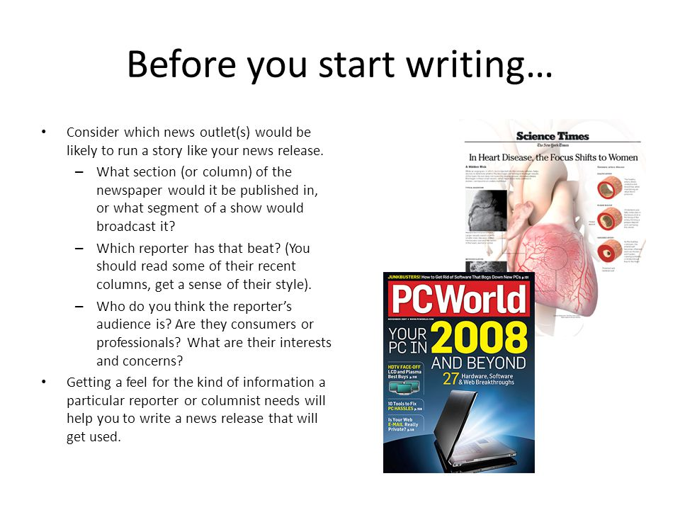 Before you start writing…