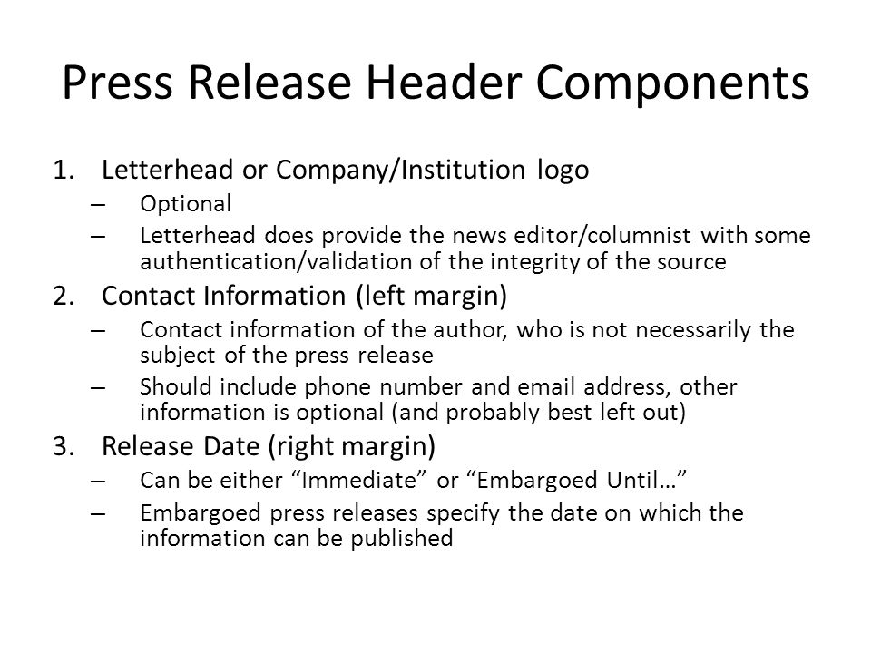 Press Release Header Components
