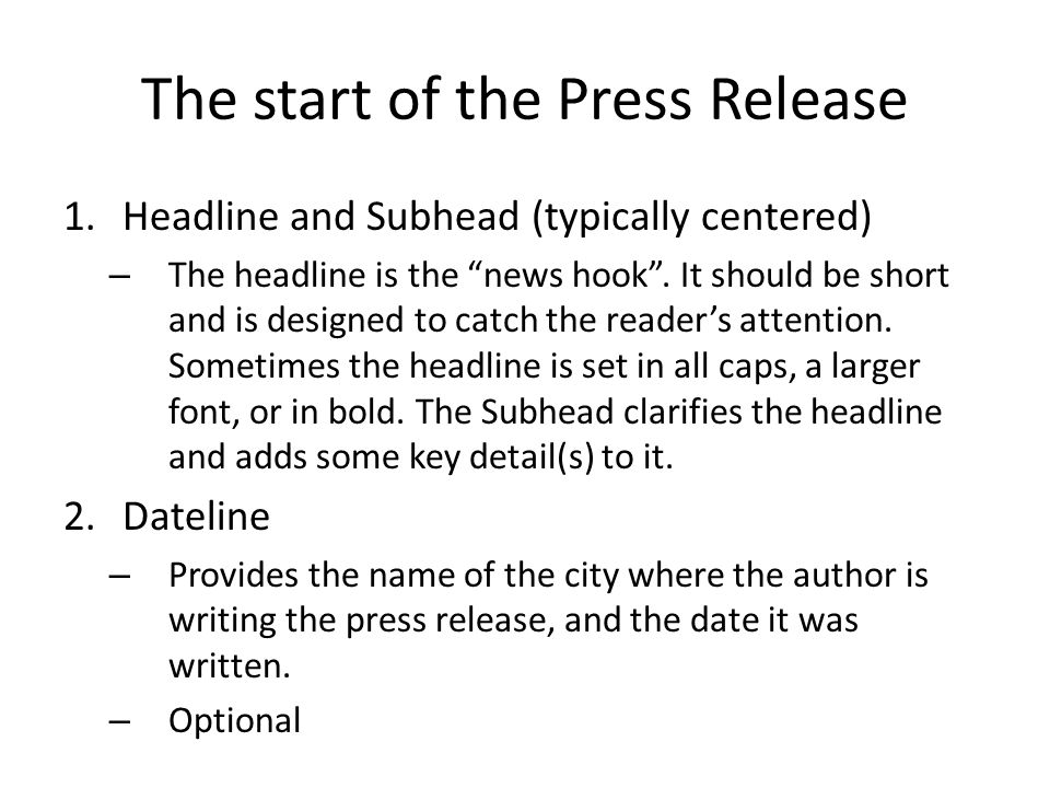 The start of the Press Release