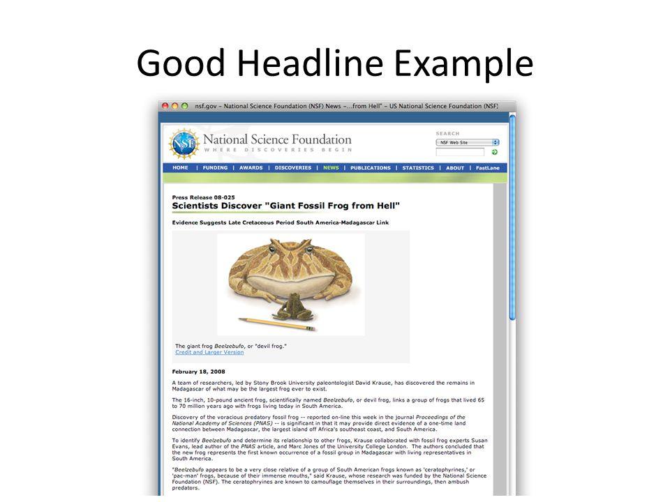 Good Headline Example