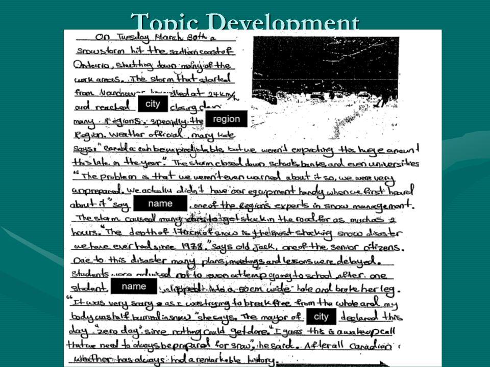 Topic Development
