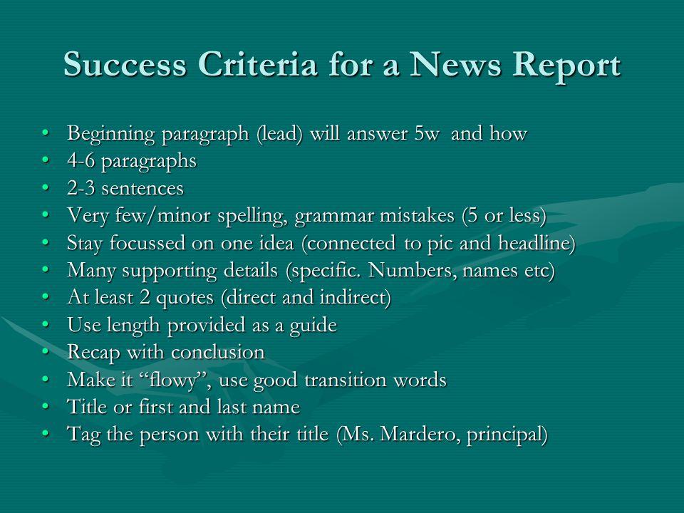 Success Criteria for a News Report
