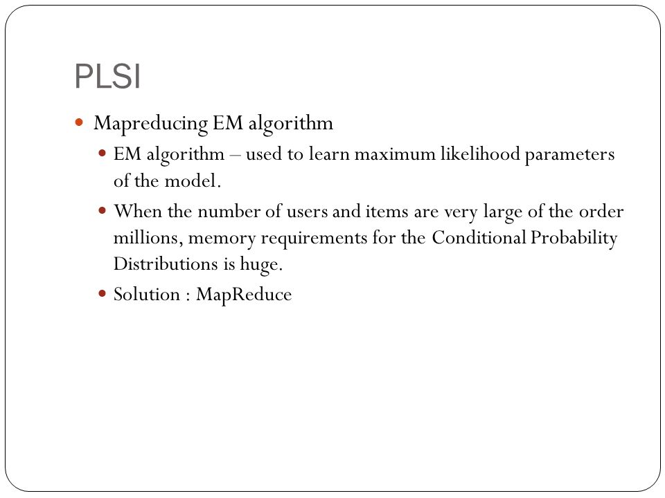 PLSI Mapreducing EM algorithm