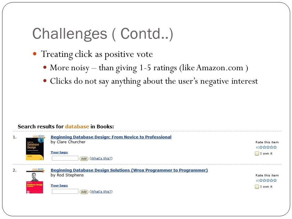 Challenges ( Contd..) Treating click as positive vote