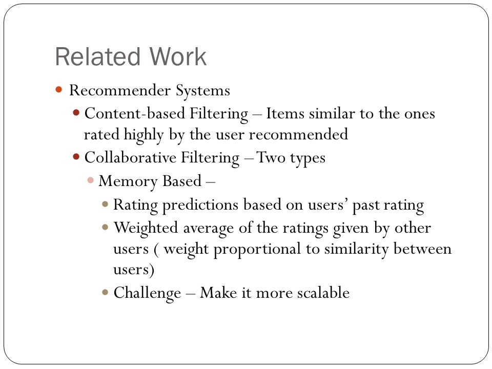 Related Work Recommender Systems