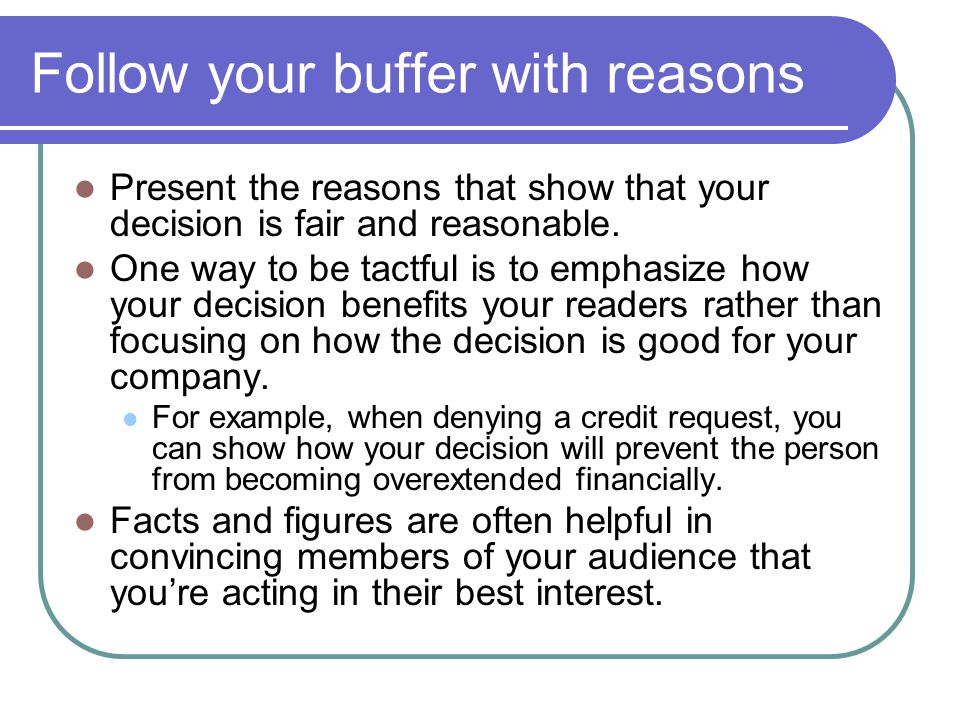 Follow your buffer with reasons